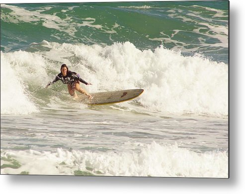 Surf Metal Print featuring the photograph Longboard Lady by Lynda Dawson-Youngclaus