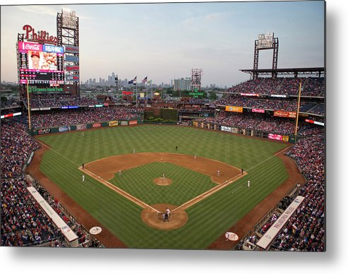 American League Baseball Metal Print featuring the photograph Los Angeles Angels Of Anaheim V by Mitchell Leff