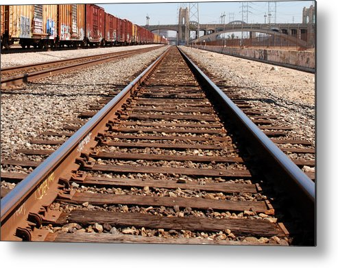 Los Angeles Photography Metal Print featuring the photograph Los Angeles Railroad Tracks by Steve Tracy