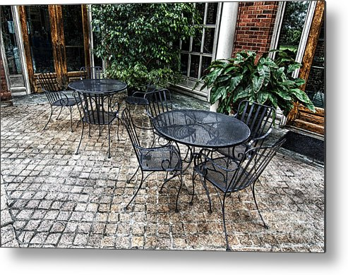 Table Metal Print featuring the photograph Lounging On The Patio by Danny Hooks
