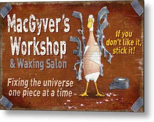 Will Bullas Metal Print featuring the painting Macgyvers Workshop by JQ Licensing