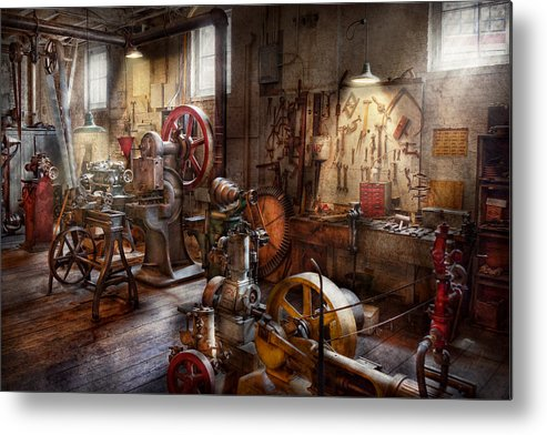 Machinist Metal Print featuring the photograph Machinist - A Room Full Of Memories by Mike Savad