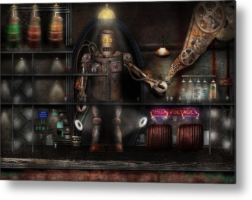 Robot Metal Print featuring the photograph Mad Scientist - The Enforcer by Mike Savad