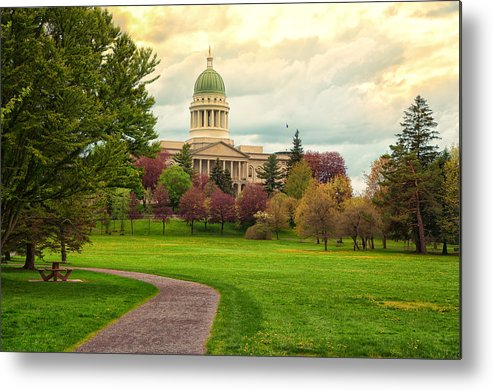 Maine Metal Print featuring the photograph Maine State Capitol Building by Norm Rodrigue