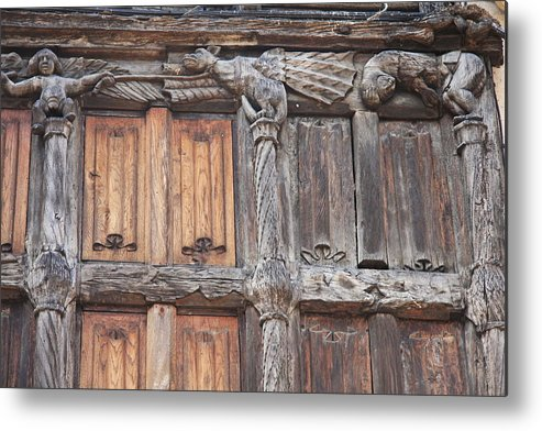 Wood Front Metal Print featuring the photograph Maison De Bois Macon - Detail Wood Front by Christiane Schulze Art And Photography