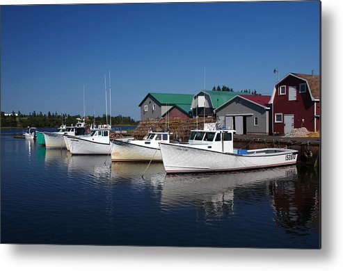 Boats Metal Print featuring the photograph Malpeque Harbor Early Evening by Frank Falzett