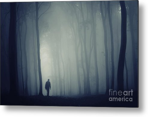 Forest Metal Print featuring the photograph Man In Dark Mysterious Forest With Fog by Photo Cosma