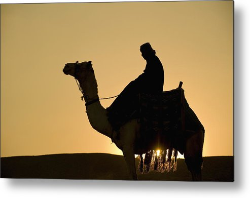 Color Image Metal Print featuring the photograph Man On Camel At Dusk Near The Pyramids by Ian Cumming