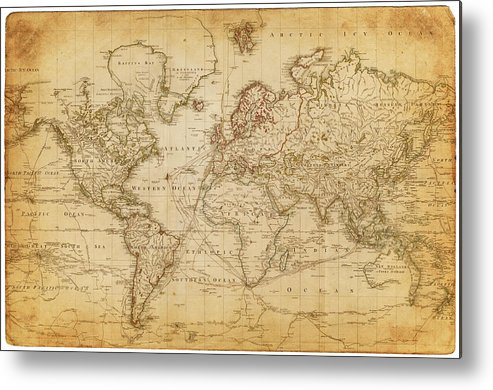 Map Of The World 1800 Metal Print By Thepalmer