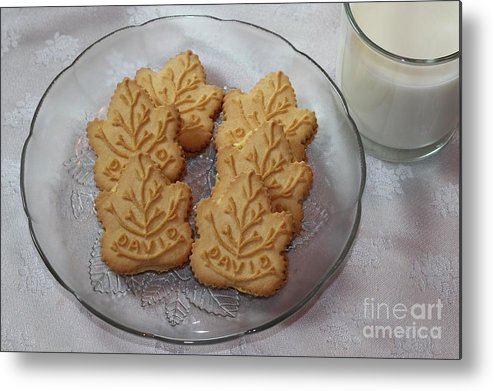 Maple Leaf Cookies And Milk Metal Print featuring the photograph Maple Leaf Cookies And Milk - Food Art - Kitchen by Barbara Griffin