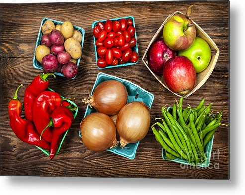 Local Metal Print featuring the photograph Market Fruits And Vegetables by Elena Elisseeva