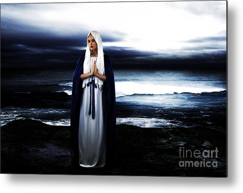 Mary Metal Print featuring the photograph Mary By The Sea by Cinema Photography