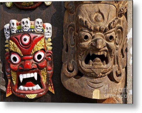 Mask Metal Print featuring the photograph Masks In Kathmandu Nepal by Robert Preston