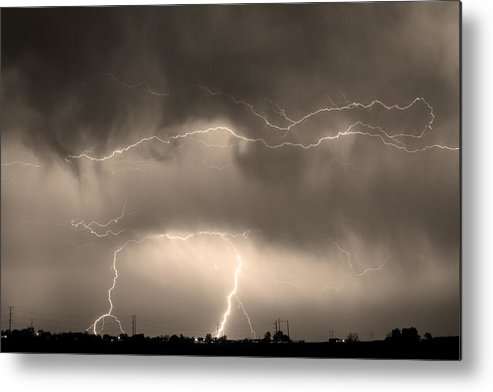 lightning Bolt Pictures Metal Print featuring the photograph May Showers - Lightning Thunderstorm Sepia 5-10-2011 by James BO Insogna