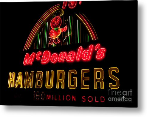 Hamburgers Metal Print featuring the photograph Mcdonalds Sign by Ronald Grogan