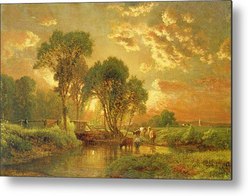 Inness Metal Print featuring the painting Medfield Massachusetts by Inness