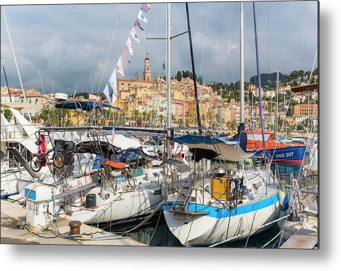 Tranquil Scene Metal Print featuring the photograph Menton, France. View Over Harbour by Ken Welsh