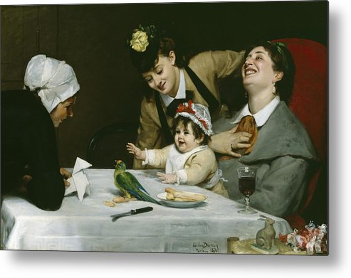 Merrymakers Metal Print featuring the painting Merrymakers by Charles Emile Auguste Carolus-Duran