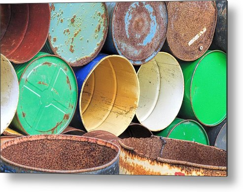 Abandoned Metal Print featuring the photograph Metal Barrels 2 by Rudy Umans