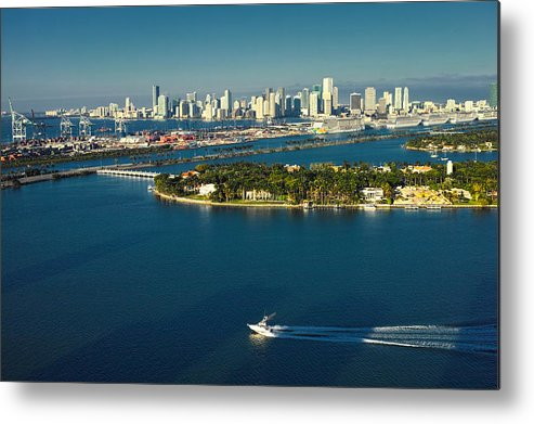 Miami Beach Metal Print featuring the photograph Miami City Biscayne Bay Skyline by Gary Dean Mercer Clark