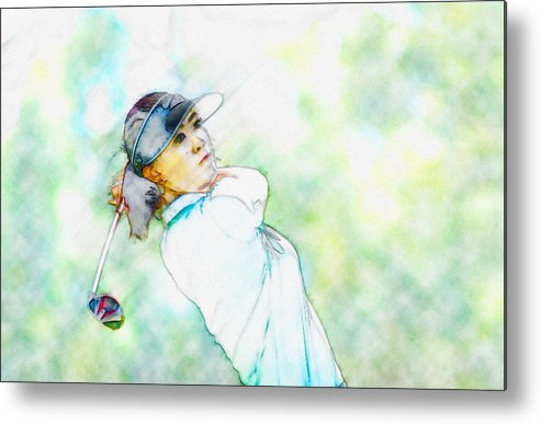 Decoration Metal Print featuring the digital art Michelle Wie Hits Her Tee Shot On The Sixth Hole by Don Kuing