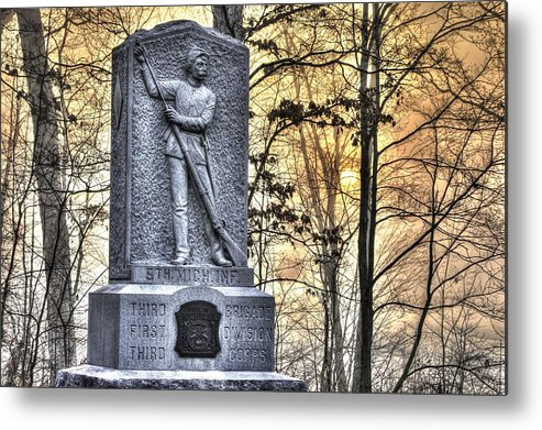 Civil War Metal Print featuring the photograph Michigan At Gettysburg - 5th Michigan Infantry Sunrise And Morning Mist In The Rose Woods by Michael Mazaika