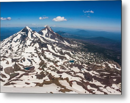 South Sister Summit Metal Print featuring the photograph Middle And North Sister by Jaime Weatherford