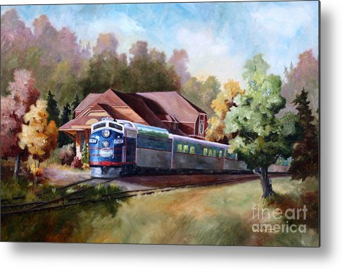 Train Fall train Painting Station Building Structure Minnesota train Station Oil Painting Original Metal Print featuring the painting Minnesota Zephyr by Brenda Thour