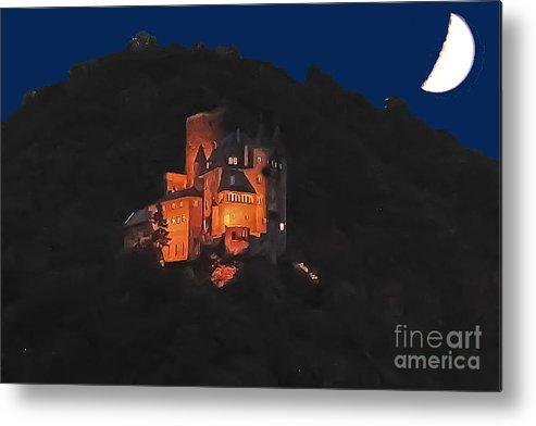 Travel Metal Print featuring the photograph Moon Over Burg Katz by Elvis Vaughn