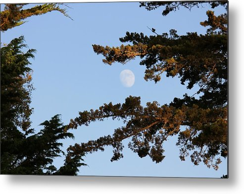 The Coast Metal Print featuring the photograph Moon Over Morro Bay by Douglas Miller