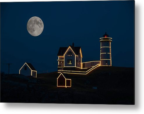 Atlantic Ocean Metal Print featuring the photograph Moon Over Nubble Light by Guy Whiteley