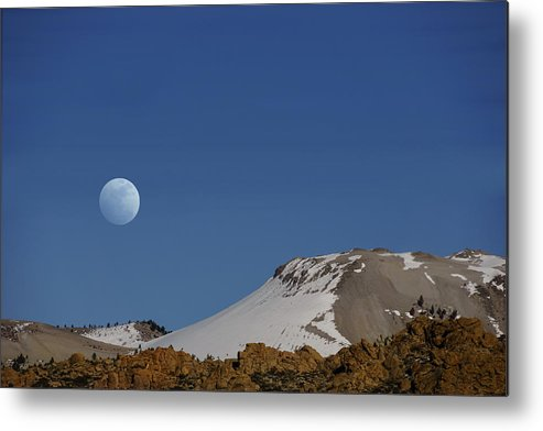 Moon Metal Print featuring the photograph Moon Over The Sierras by Janis Knight