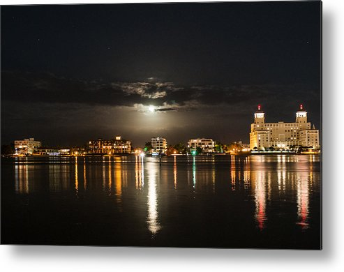 Moon Over West Palm I Photographs Metal Print featuring the photograph Moon Over West Palm I by Terrence Downing