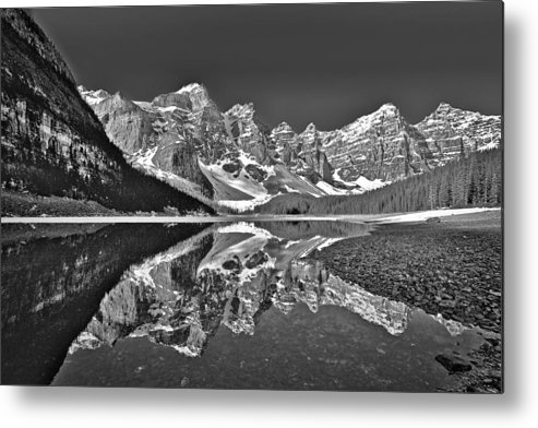 Moraine Lake Metal Print featuring the photograph Moraine Lake - Black And White by Stuart Litoff