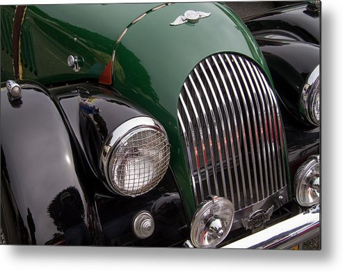 Morgan Plus 4 Hood And Grill Metal Print featuring the photograph Morgan Plus 4 Grill And Hood by Roger Mullenhour
