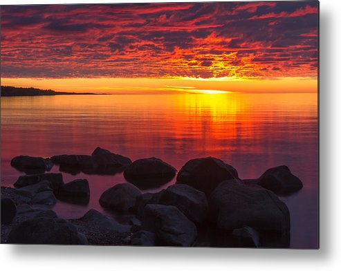 morning Glow lake Superior lake Superior North Shore Nature nature Cards Duluth brighton Beach Sunrise Dawn great Lake mary Amerman Metal Print featuring the photograph Morning Glow by Mary Amerman