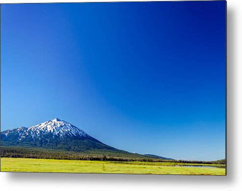 Mountain Metal Print featuring the photograph Mount Bachelor And Blue Sky by Jess Kraft