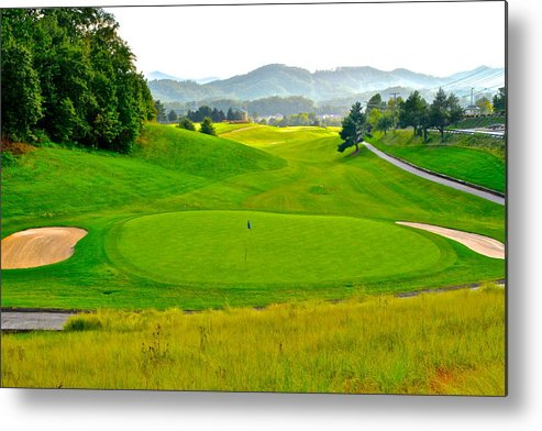 Golf Metal Print featuring the photograph Mountain Golf by Frozen in Time Fine Art Photography