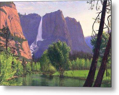 Waterfall Metal Print featuring the painting Mountains Waterfall Stream Western Mountain Landscape Oil Painting by Walt Curlee