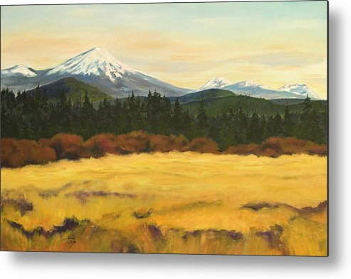 Landscapes Metal Print featuring the painting Mt. Bachelor by Donna Drake