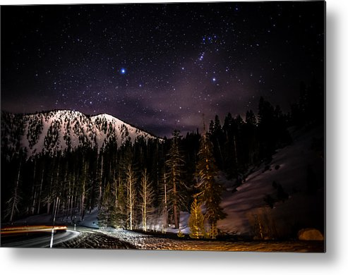Astrophotography Metal Print featuring the photograph Mt. Rose Highway And Ski Resort At Night by Scott McGuire