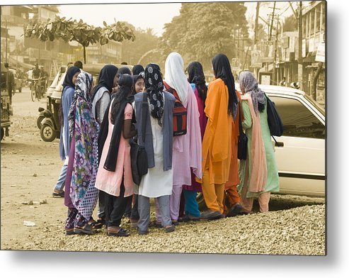 India Metal Print featuring the photograph Muslim Girls by Sonny Marcyan