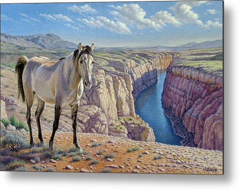 Wildlife Metal Print featuring the painting Mustang At Bighorn Canyon by Paul Krapf