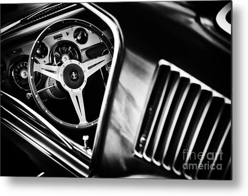 Ford Metal Print featuring the photograph Mustang Interior Monochrome by Tim Gainey