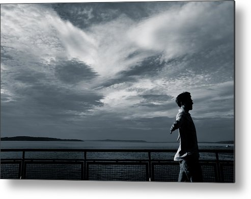 Clouds Metal Print featuring the photograph Mystery Man Walks The Deck by Ronda Broatch