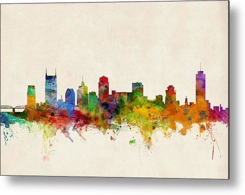 Watercolour Metal Print featuring the digital art Nashville Tennessee Skyline by Michael Tompsett