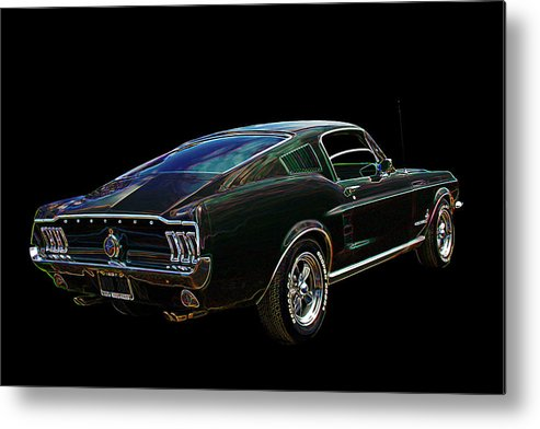 Classic Mustang Metal Print featuring the photograph Neon Mustang Fastback 1967 by Gill Billington