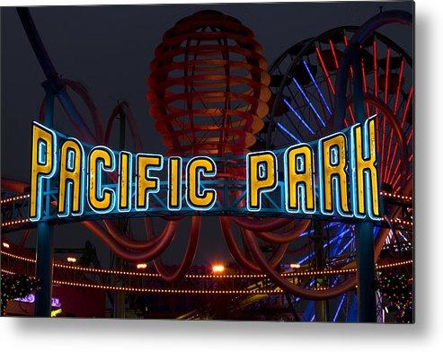 Santa Metal Print featuring the photograph Neon Sign At Pacific Park At Santa Monica by Carol M Highsmith