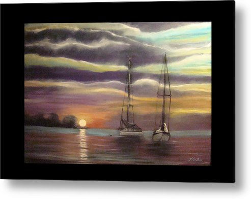 Boat Metal Print featuring the painting New Day On The Bay by Tommy Castro