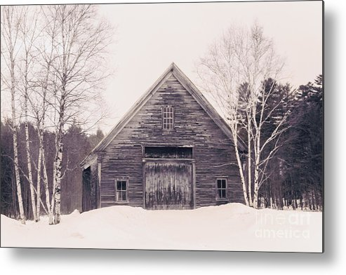 New Hampshire Metal Print featuring the photograph New Hampshire Barn In Black And White by Elizabeth Thomas